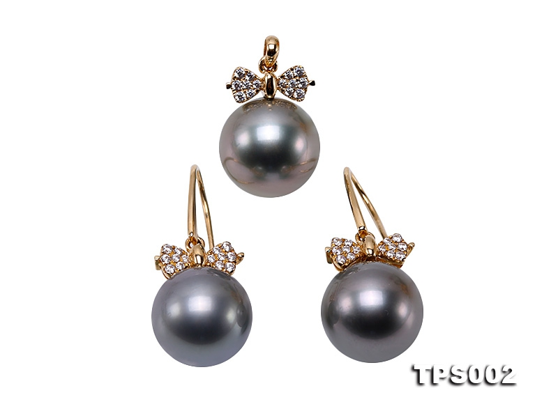 11.5mm Black Round Tahiti Pearl Pendant and Earrings Set