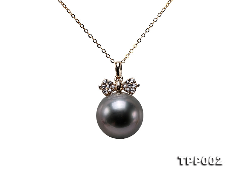 11.5mm Black Round Tahiti Pearl Pendant in 14k Gold
