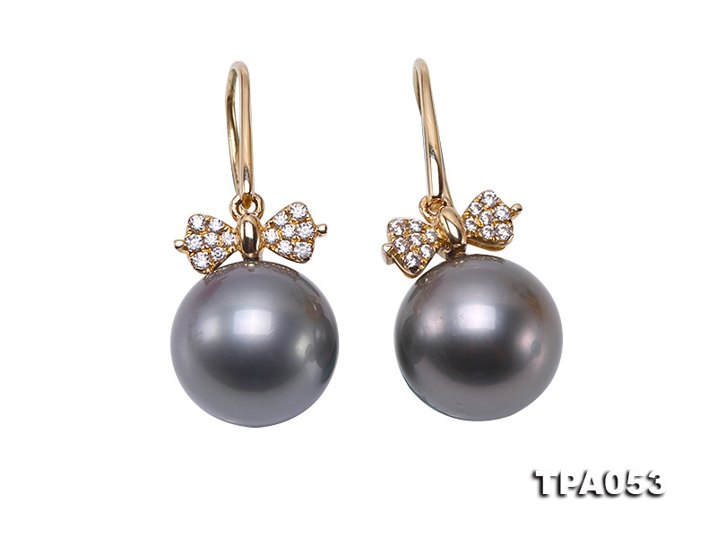 11.5mm Black Round Tahitian Pearl Earrings in 14k Gold