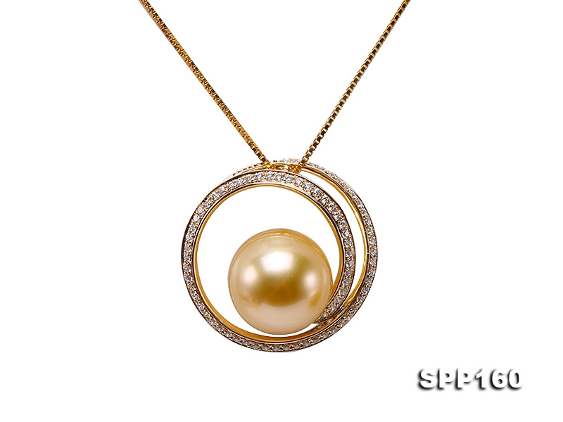 11.5mm Golden South Sea Pearl Pendant in 14k Gold