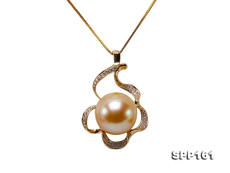 15mm Golden South Sea Pearl Pendant in 14k Gold