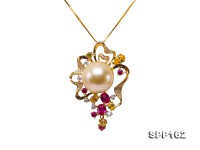 14mm Golden Round South Sea Pearl Pendant in 14k Gold