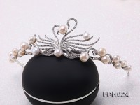Natural 7-10mm White Flatly Round Freshwater Pearl Crown