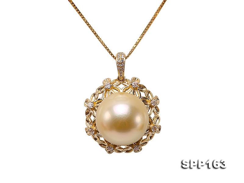 Natural 13.5mm Golden South Sea Pearl Pendant in 9k Gold