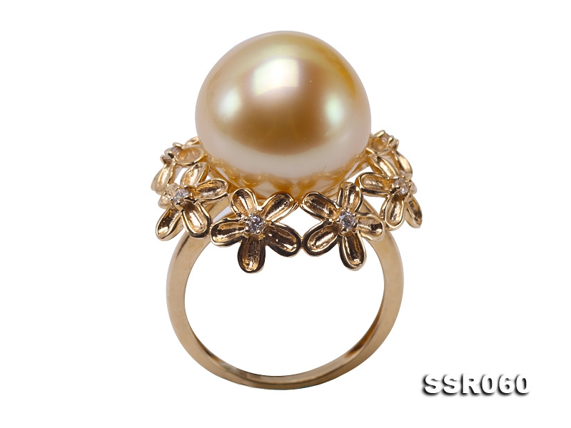 Natural 14.5mm Golden South Sea Pearl Ring in 9k Gold