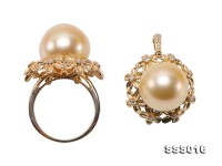 13.5-14.5mm Golden South Sea Pearl Ring and Pendant Set in 9k Gold