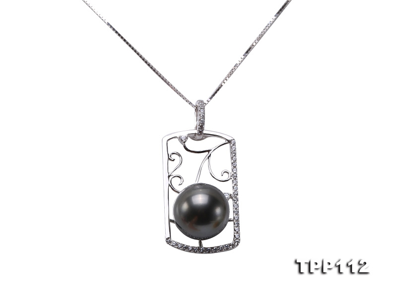 Natural 11mm Black Round Tahiti Pearl Pendant in 14k White Gold