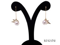 9mm Akoya Seawater Pearl Dangling Earrings in 14k Gold