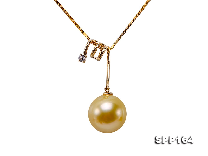 10.5mm Golden Round South Sea Pearl Pendant in 18k Gold