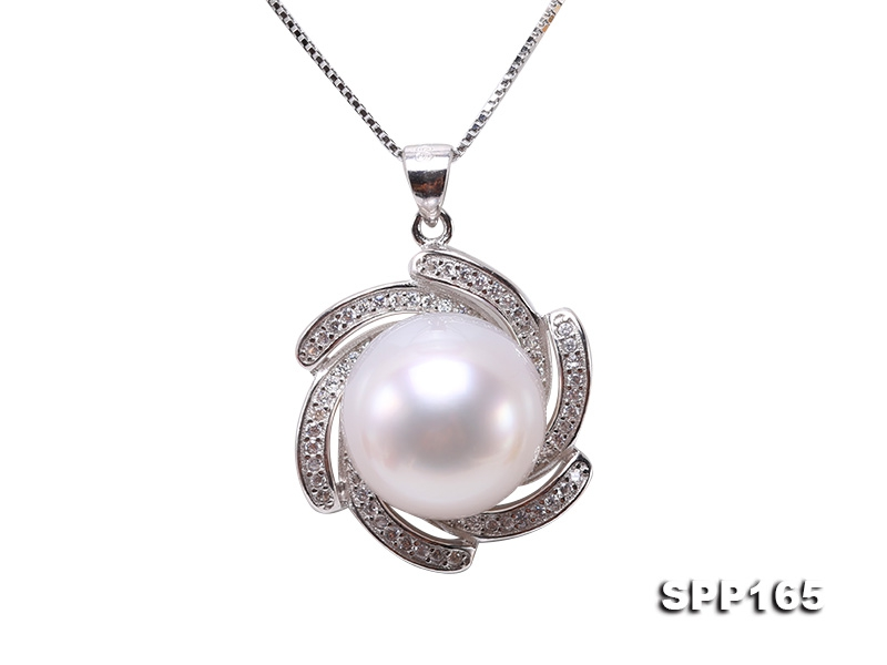 Natural 13.5mm White South Sea Pearl Pendant in 925 Silver