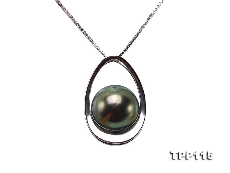 10mm Peacock Round Tahiti Pearl Pendant in 14k Gold