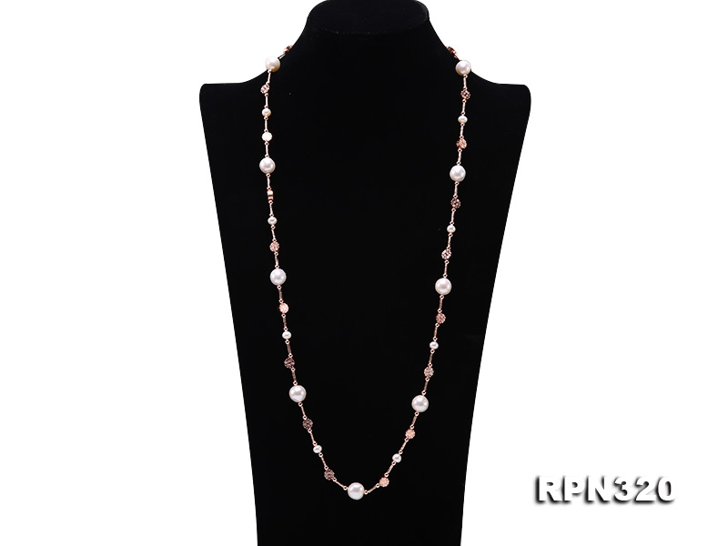Natural 10.5-11mm White Edison Pearl Opera Chain Necklace