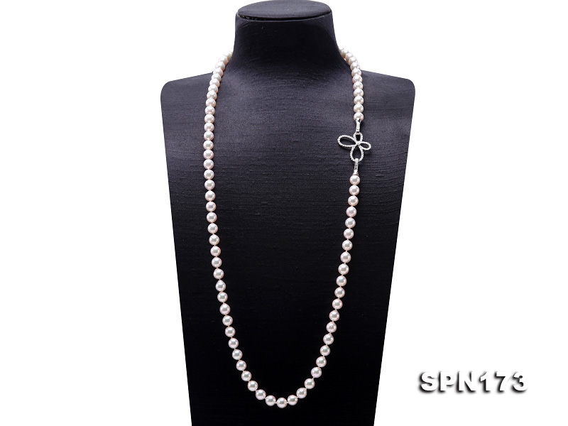 Natural 9mm White Round Akoya Seawater Pearl Opera Necklace