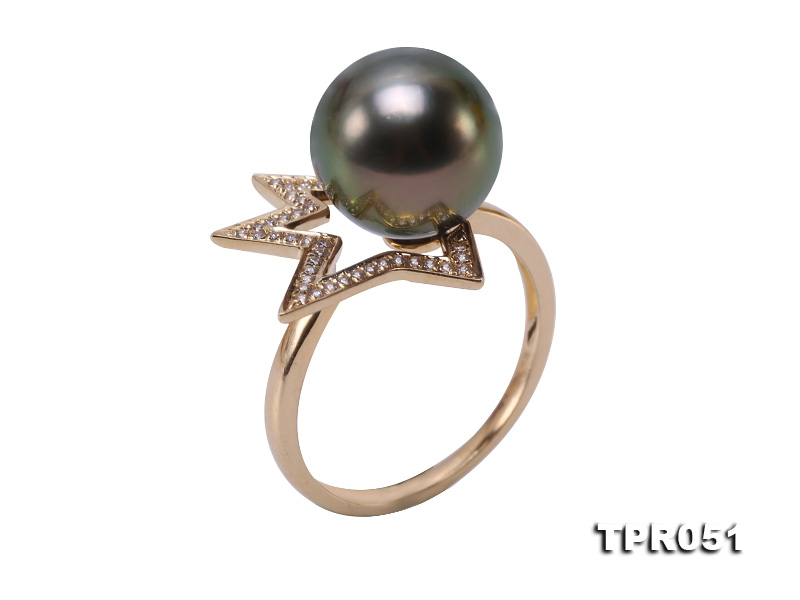 Exquisite 10.5mm Peacock Round Tahiti Pearl Ring in 14k Gold