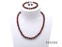 7-8.5mm Flatly Round Brown Freshwater Pearl Necklace Bracelet Earring Set