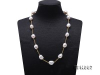 13×13-13x15mm White Baroque Pearl Necklace in Sterling Silver