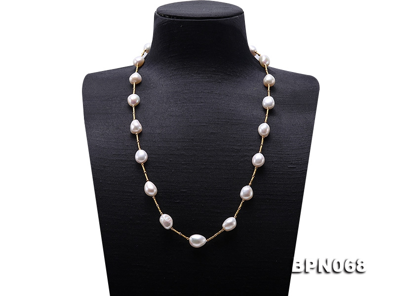 Unique 12×13.5-12.5x16mm White Baroque Pearl Necklace in Sterling Silver