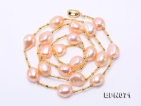 Unique 12×13-12x15mm Pink Baroque Pearl Necklace in Sterling Silver