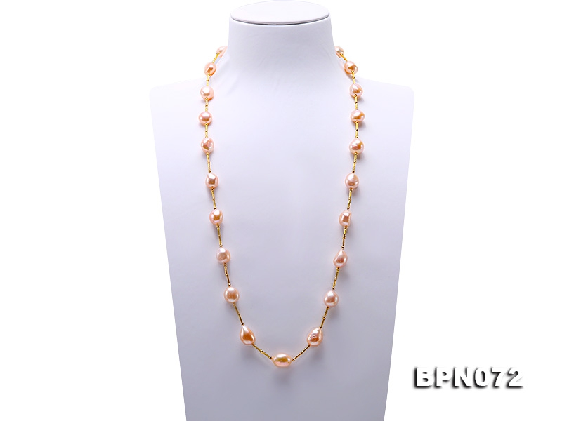 Unique 12×13-12.5x16mm Pink Baroque Pearl Necklace in Sterling Silver