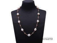 Unique 12.5×13-12.5x15mm White Baroque Pearl Necklace in Sterling Silver