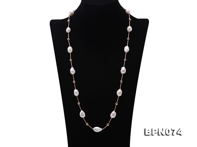 Unique 11.5×13-12x20mm White Baroque Pearl Necklace in Sterling Silver