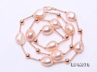 Unique 12×15-12x16mm Pink Baroque Pearl Necklace in Sterling Silver