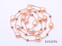 Unique 11.5×12.5-12x16mm Pink Baroque Pearl Necklace in Sterling Silver