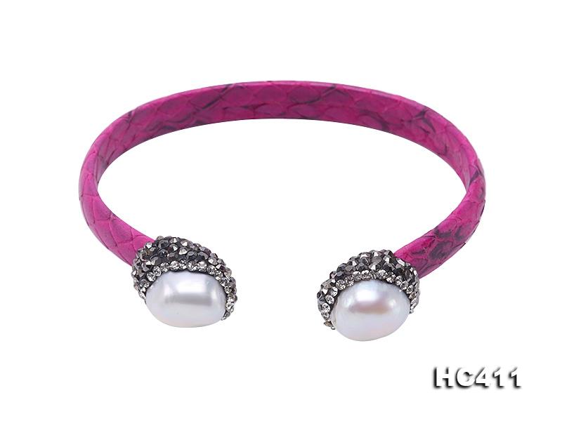 Rose Red Skakeskin & White Baroque Pearl Bangle with Swarovski Crystals