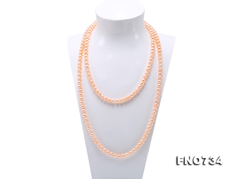 Classical 8-9mm Pink Pearl Long Necklace