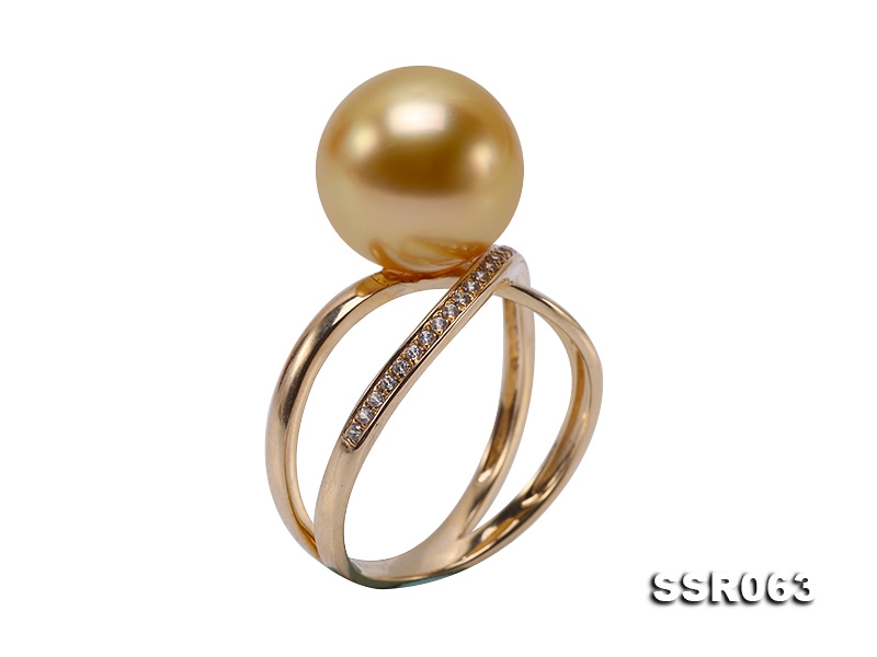 Luxury 11mm Golden Round South Sea Pearl Ring in 14k Gold