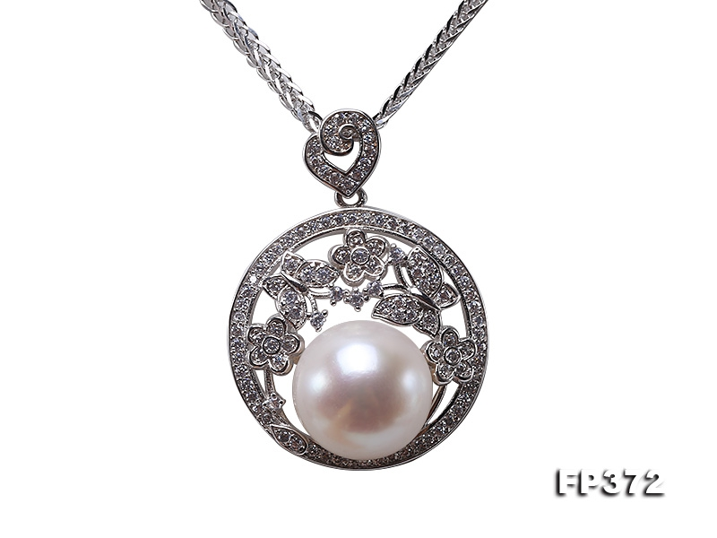 Exquisite 12.5mm White Freshwater Pearl Pendant in Sterling Silver