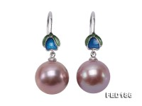 11.5mm Rich Lavender Round Edison Pearl Earring in Sterling Silver