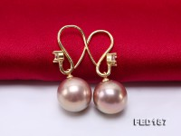 12.5mm Golden Lavender Round Edison Pearl Earring in Sterling Silver