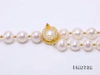 Adjustable Length 8.5-10mm White Round Pearl Necklace with Tassel