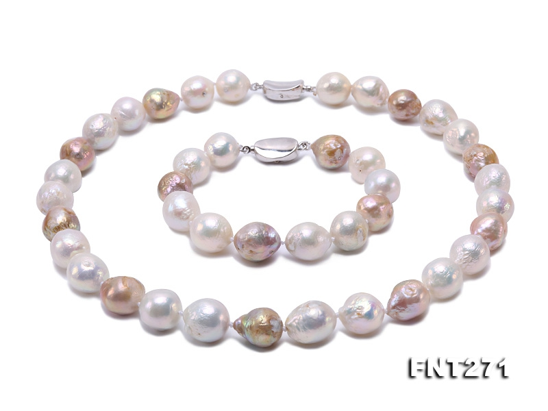 Big 12-14mm Multicolor Baroque Pearl Necklace Bracelet Set