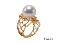 Top Lustrous 13mm White Edison Pearl Ring in 18k Gold