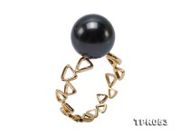 Mysterious 11mm Black Round Tahiti Pearl Ring in 18k Gold