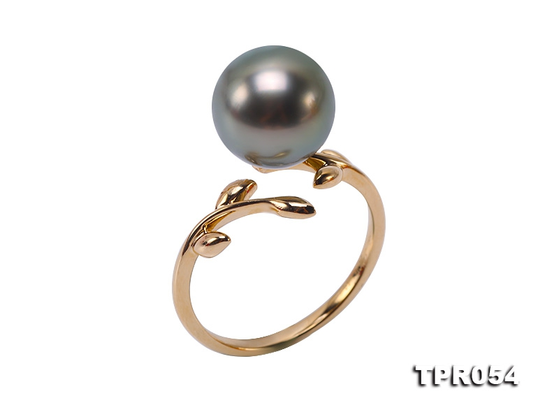 Exquisite 10mm Peacock Round Tahiti Pearl Ring in 14k Gold