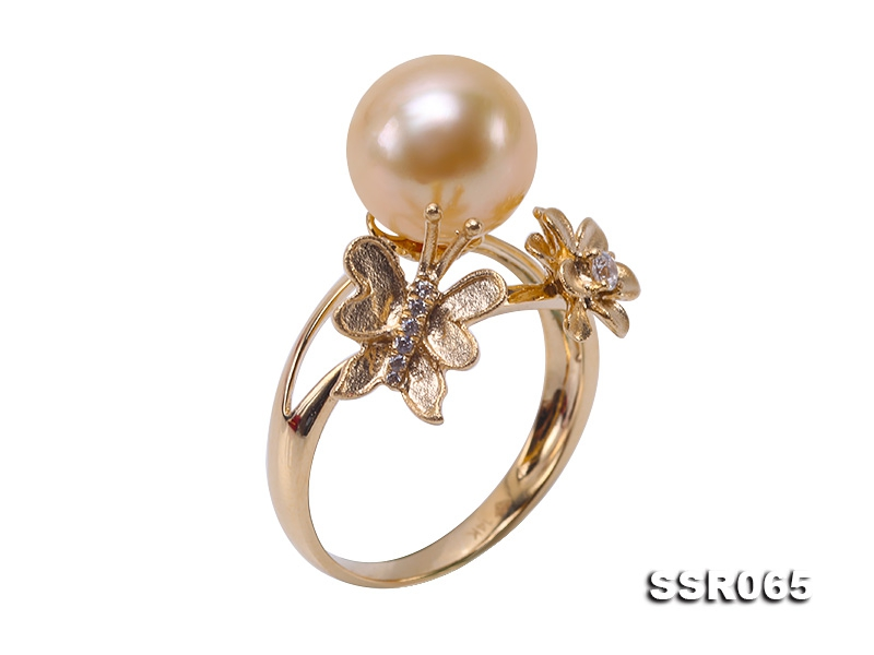 Charming 9.5mm Golden Round South Sea Pearl Ring in 14k Gold