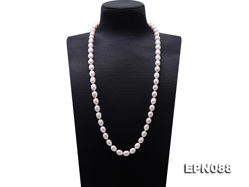 10-11mm White Oval Pearl Long Necklace