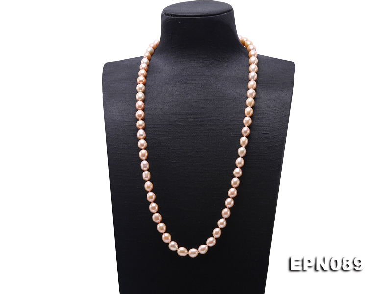 10-11mm Pink Oval Pearl Long Necklace