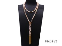 Adjustable Length 9-9.5mm Multi-color Round Pearl Necklace with Tassel