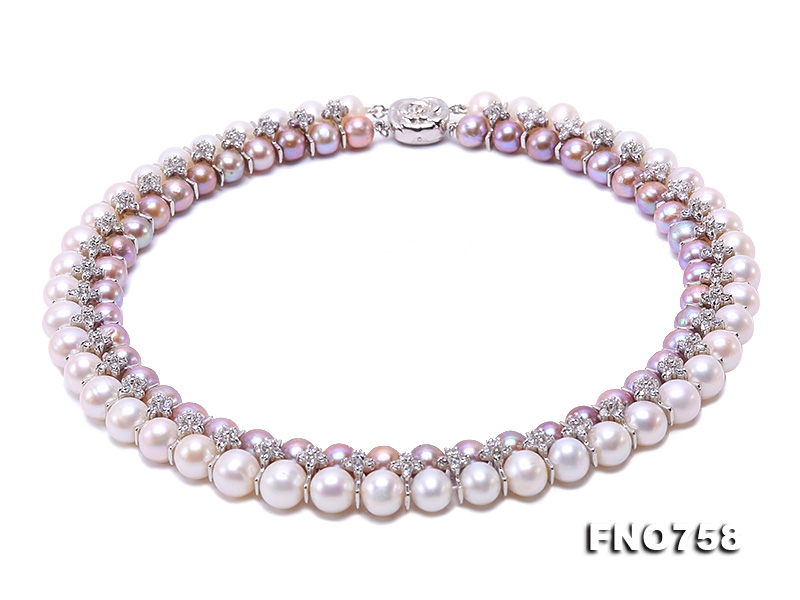 Elegant 8.5-10mm White & Lavender Two-row Pearl Necklace in Sterling Silver