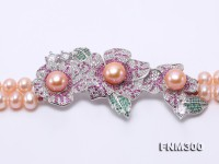 Elegant 6.5-7.5mm Pink Two-row Pearl Necklace