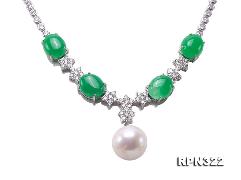 Super Big 15mm White Round Pearl Necklace in 925 Sterling Silver
