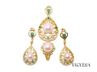Exquisite 8-12mm White Pearl Pendant Earring & Ring Set in Sterling Silver