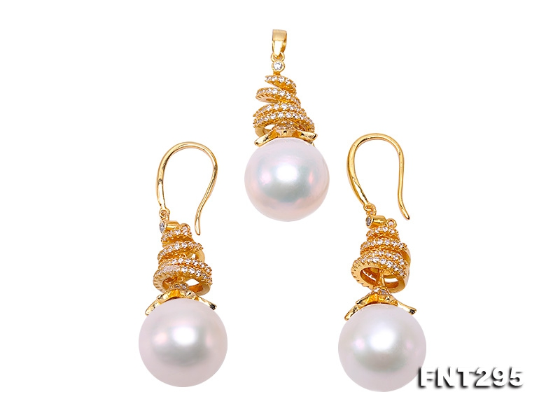 Classical 13.5-14.5mm White Edison Pearl Pendant & Earring Set in Sterling Silver