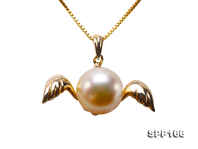9mm Golden Round South Sea Pearl Pendant in 14k Gold