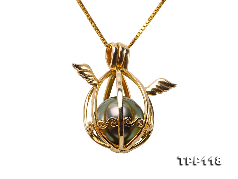 Lovely 9.5mm Peacock Green Tahitian Pearl Pendant in 14k Gold