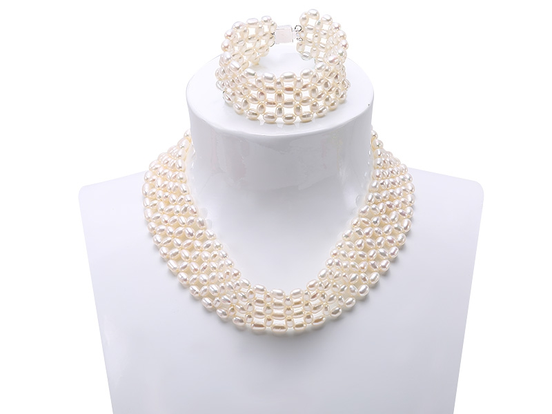 Graceful 4.5-5mm White Pearl Woven Necklace Bracelet Set